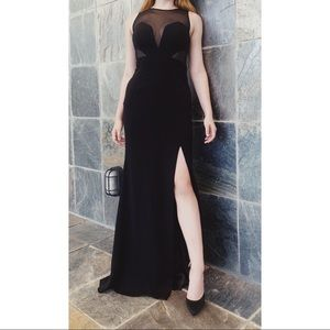 Black crepe and sheer gown